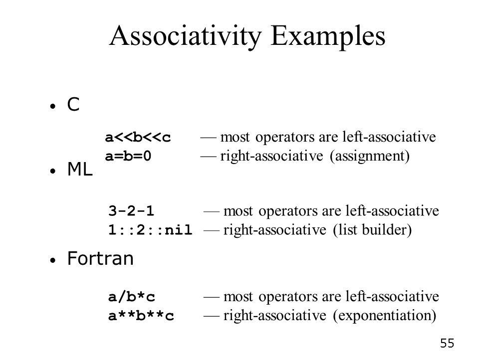55 Associativity Examples C ML Fortran a<<b<<c most operators are left-associative a=b=0 right-associative (assignment) 3-2-1 most operators are left-