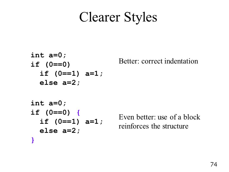 74 Clearer Styles int a=0; if (0==0) if (0==1) a=1; else a=2; int a=0; if (0==0) { if (0==1) a=1; else a=2; } Better: correct indentation Even better: use of a block reinforces the structure