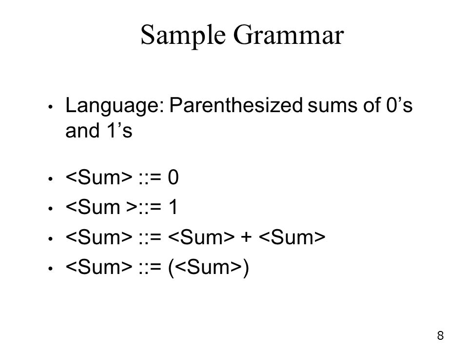 8 Sample Grammar Language: Parenthesized sums of 0s and 1s ::= 0 ::= 1 ::= + ::= ( )