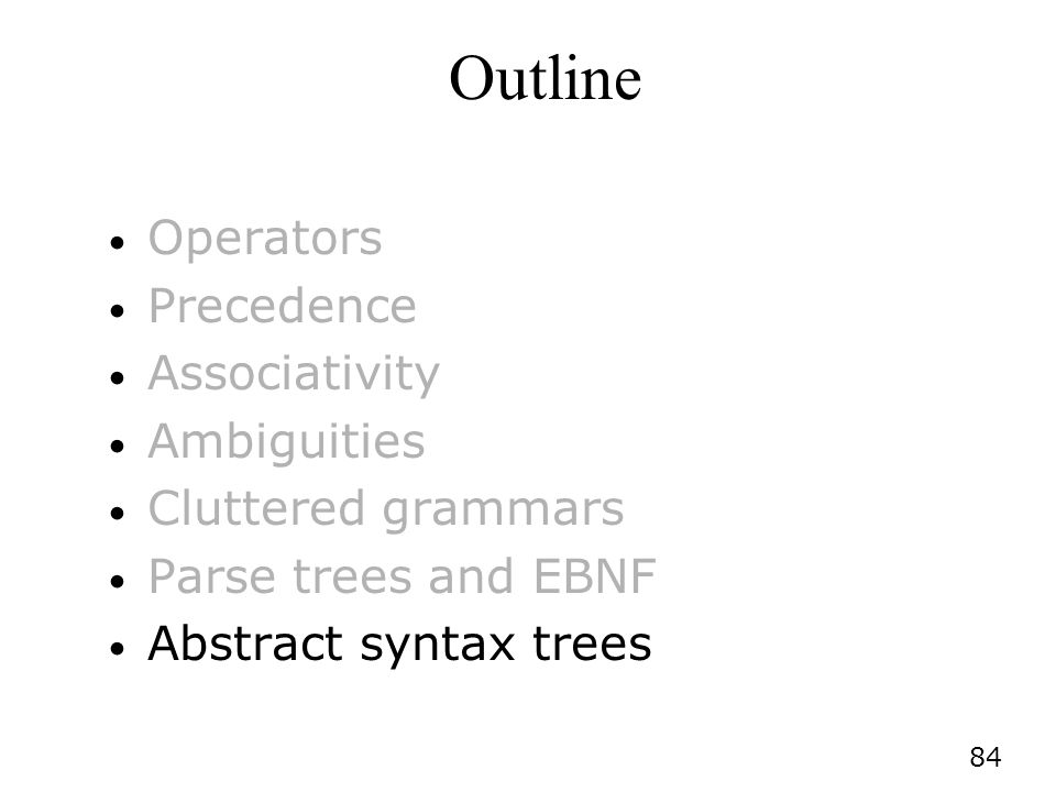 84 Outline Operators Precedence Associativity Ambiguities Cluttered grammars Parse trees and EBNF Abstract syntax trees