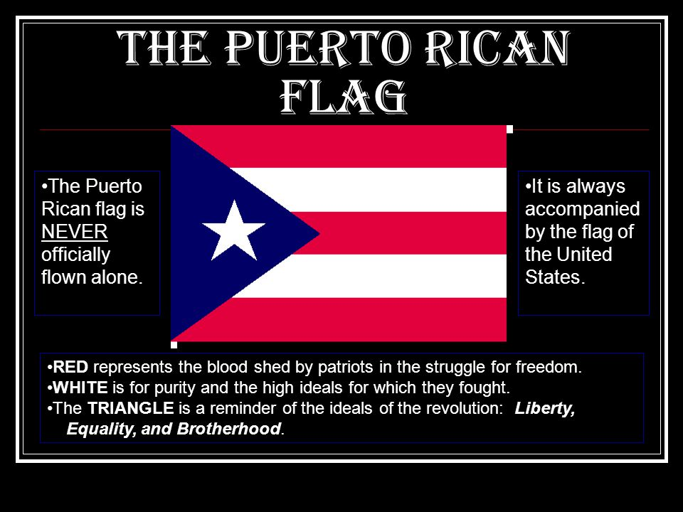 The Puerto Rican Flag The Puerto Rican flag is NEVER officially flown alone.