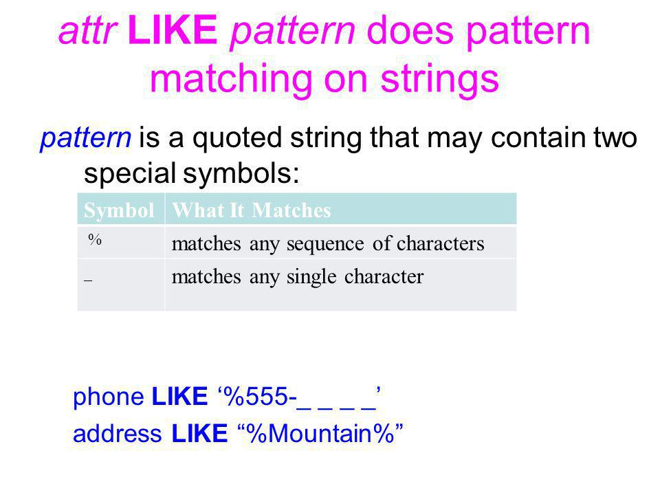 attr LIKE pattern does pattern matching on strings pattern is a quoted string that may contain two special symbols: phone LIKE %555-_ _ _ _ address LIKE %Mountain% SymbolWhat It Matches % matches any sequence of characters _ matches any single character