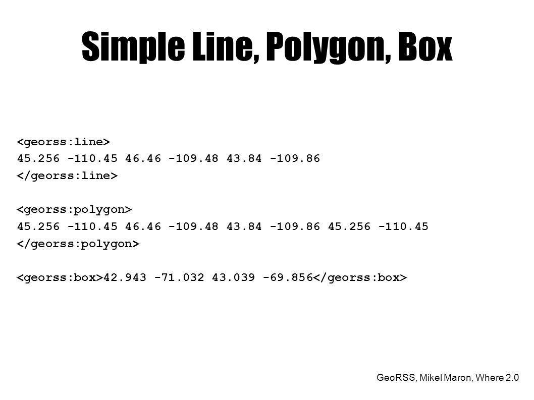 GeoRSS, Mikel Maron, Where 2.0 Simple Line, Polygon, Box 45.256 -110.45 46.46 -109.48 43.84 -109.86 45.256 -110.45 46.46 -109.48 43.84 -109.86 45.256 -110.45 42.943 -71.032 43.039 -69.856
