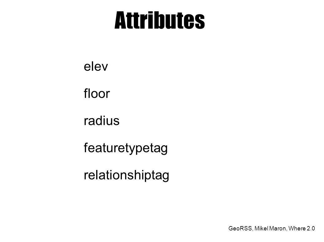 Attributes elev floor radius featuretypetag relationshiptag