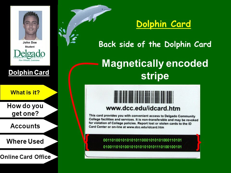 Dolphin Card How do you get one? Accounts Where Used Online Card Office What is it? Magnetically encoded stripe 0011010010101010110001010101000110101