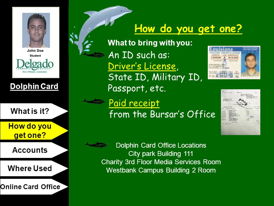 Dolphin Card How do you get one? What is it? How do you get one? Accounts Where Used Online Card Office What to bring with you: Paid receipt from the