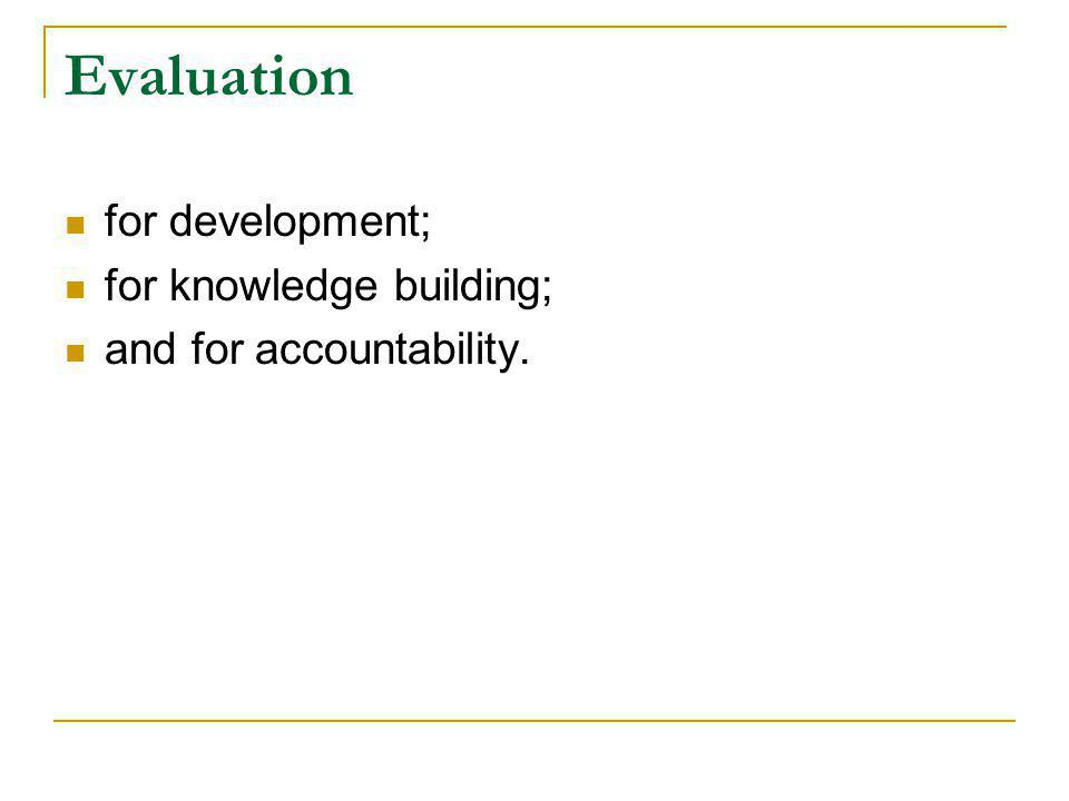 Evaluation for development; for knowledge building; and for accountability.