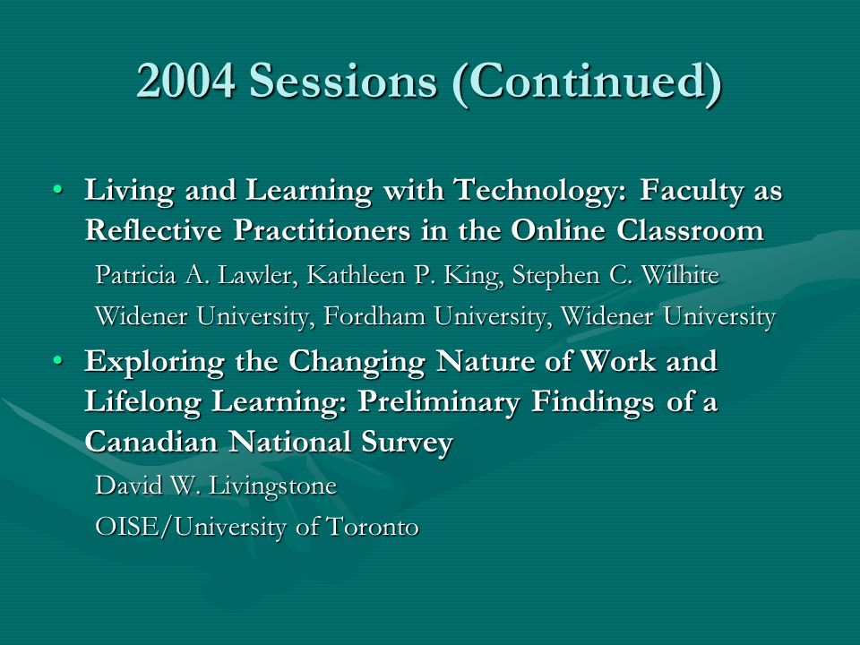 2004 Sessions (Continued) Living and Learning with Technology: Faculty as Reflective Practitioners in the Online ClassroomLiving and Learning with Tec