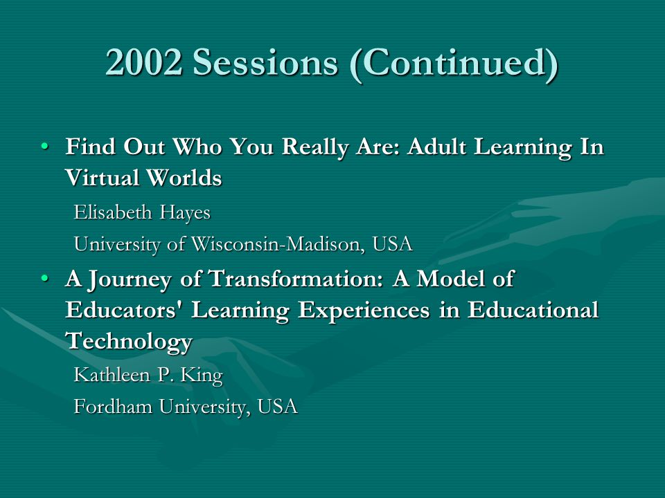 2004 Sessions (Continued) I am in Constant Learning Mode: Mothers of Children with an Invisible DisabilityI am in Constant Learning Mode: Mothers of Children with an Invisible Disability Alice Home University of Ottawa Using Oral History and Archival Exploration to Forge a Path to the Past: A General Survey of the Adult Education Opportunities Available to African American Adults in Cincinnati, Ohio, 1930-1949Using Oral History and Archival Exploration to Forge a Path to the Past: A General Survey of the Adult Education Opportunities Available to African American Adults in Cincinnati, Ohio, 1930-1949 Lisa Merriweather Hunn University of Georgia