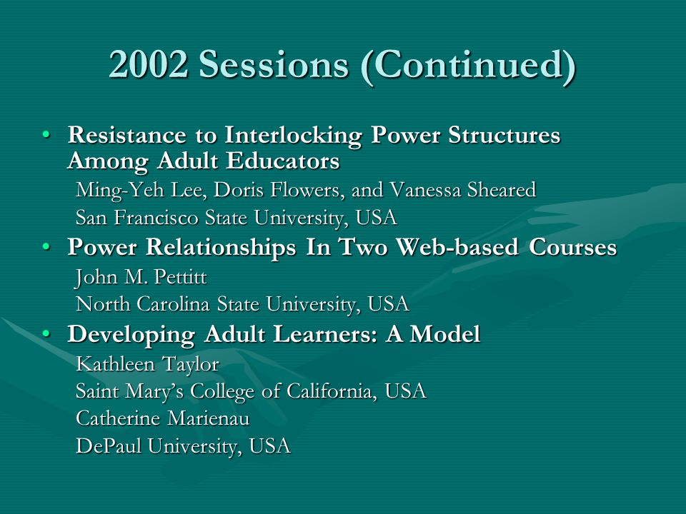 2004 Sessions (Continued) Living and Learning with Technology: Faculty as Reflective Practitioners in the Online ClassroomLiving and Learning with Technology: Faculty as Reflective Practitioners in the Online Classroom Patricia A.