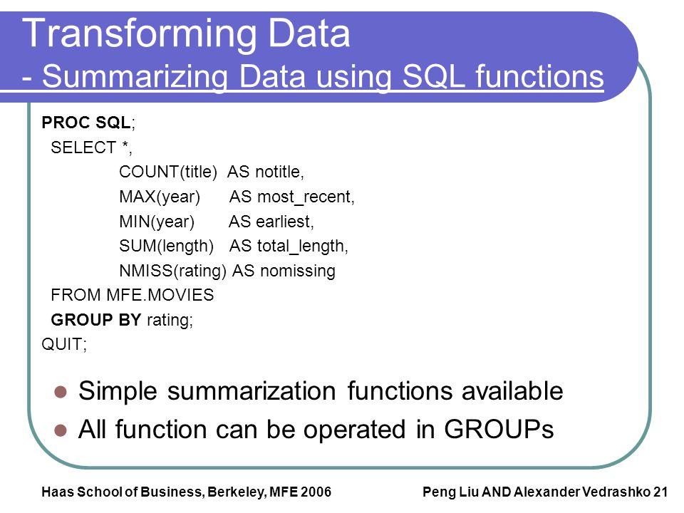 Haas School of Business, Berkeley, MFE 2006 Peng Liu AND Alexander Vedrashko 21 Transforming Data - Summarizing Data using SQL functions PROC SQL; SEL