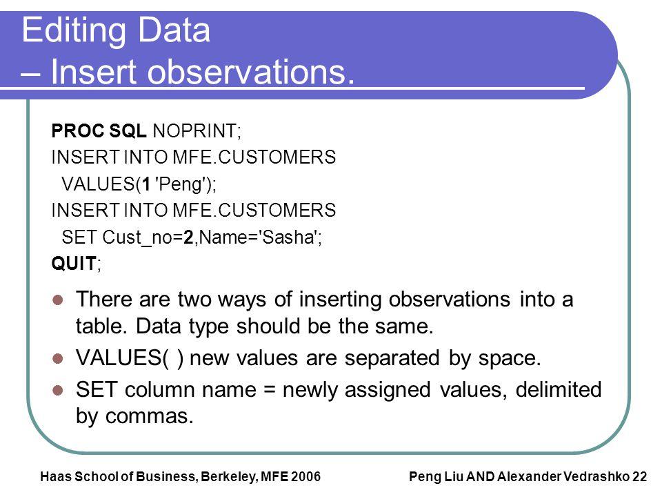 Haas School of Business, Berkeley, MFE 2006 Peng Liu AND Alexander Vedrashko 22 Editing Data – Insert observations. PROC SQL NOPRINT; INSERT INTO MFE.