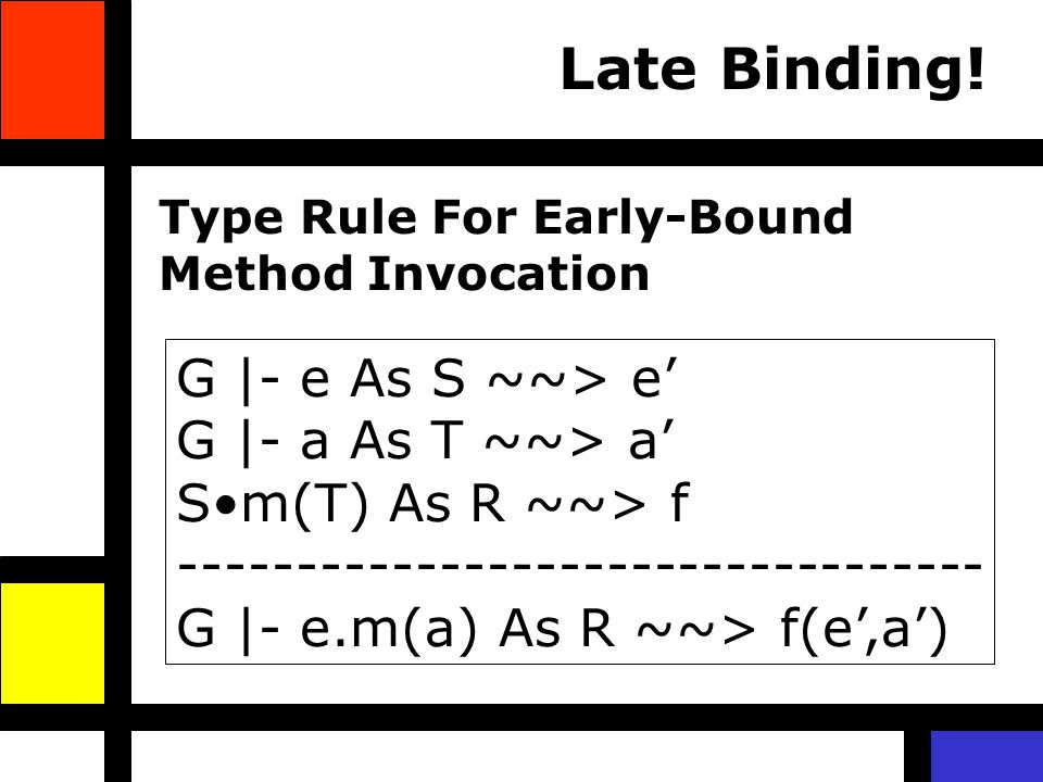 Late Binding! G |- e As S ~~> e G |- a As T ~~> a Sm(T) As R ~~> f ---------------------------------- G |- e.m(a) As R ~~> f(e,a) Type Rule For Early-