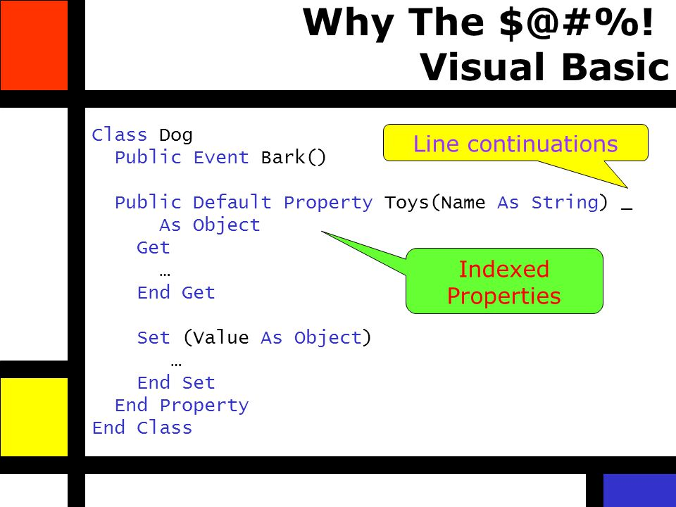 Why The $@#%! Visual Basic Class Dog Public Event Bark() Public Default Property Toys(Name As String) _ As Object Get … End Get Set (Value As Object)