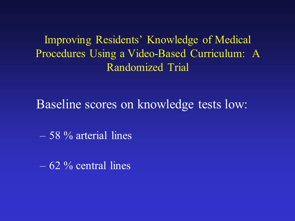 Improving Residents Knowledge of Medical Procedures Using a Video-Based Curriculum: A Randomized Trial Baseline scores on knowledge tests low: –58 % arterial lines –62 % central lines
