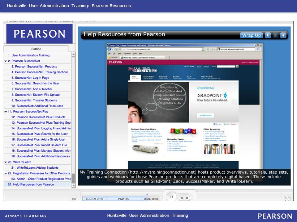 Huntsville User Administration Training Huntsville User Administration Training: Pearson Resources