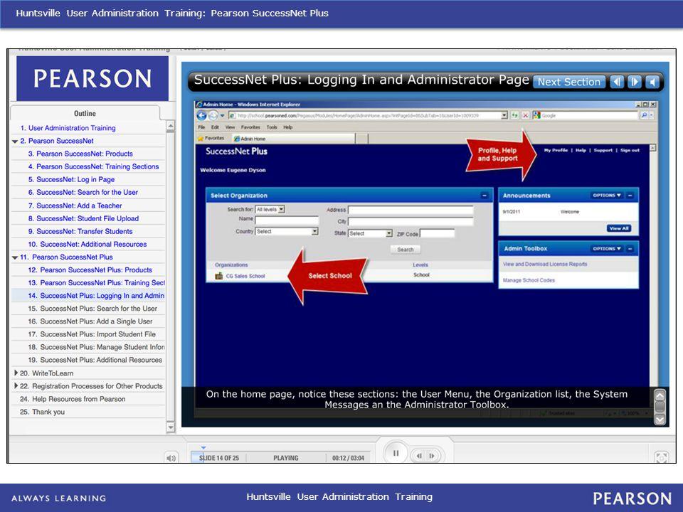 Huntsville User Administration Training Huntsville User Administration Training: Pearson SuccessNet Plus