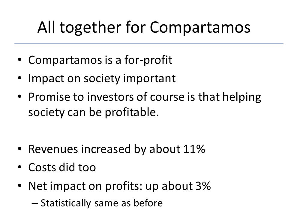 All together for Compartamos Compartamos is a for-profit Impact on society important Promise to investors of course is that helping society can be profitable.
