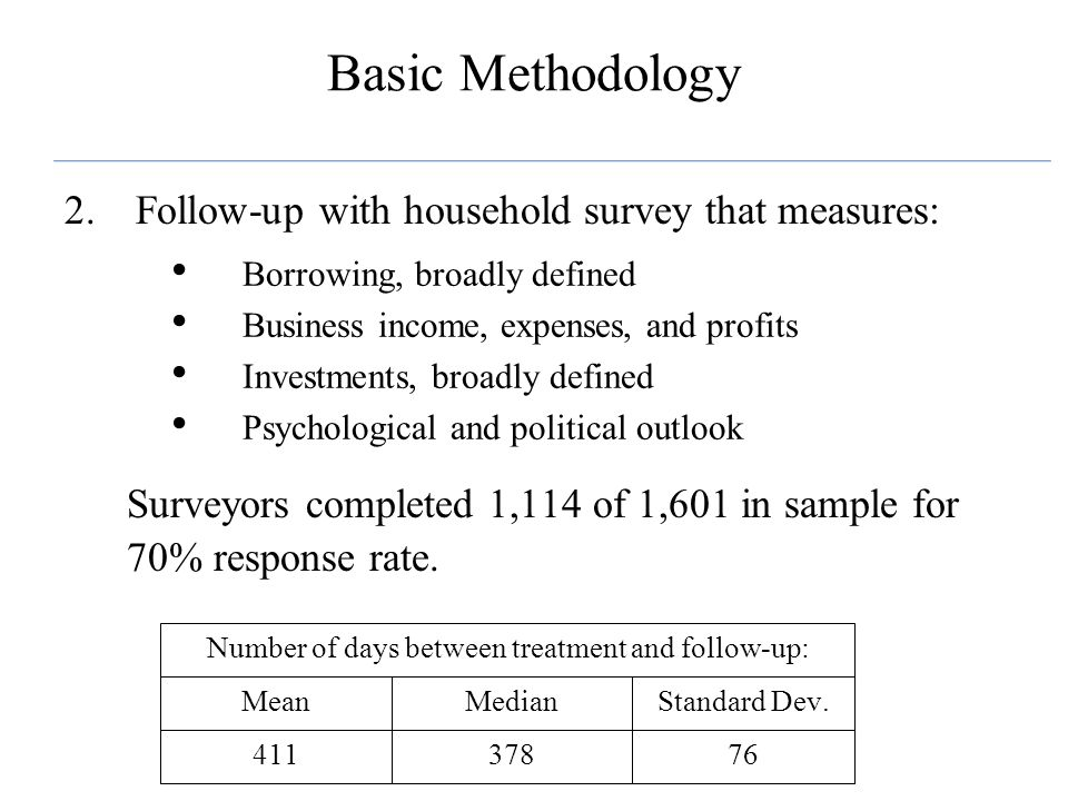 Basic Methodology 2.Follow-up with household survey that measures: Borrowing, broadly defined Business income, expenses, and profits Investments, broa