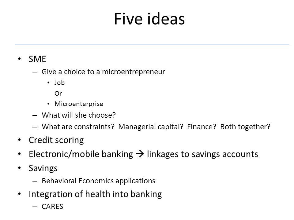 Five ideas SME – Give a choice to a microentrepreneur Job Or Microenterprise – What will she choose.
