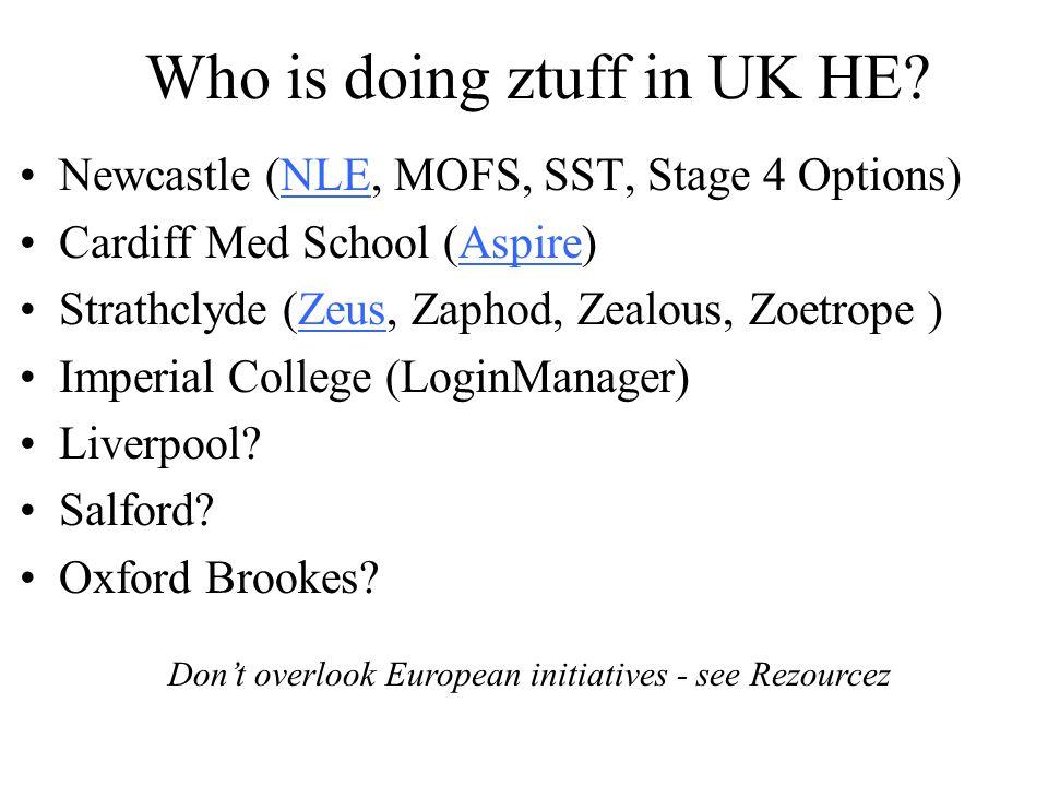 Who is doing ztuff in UK HE.