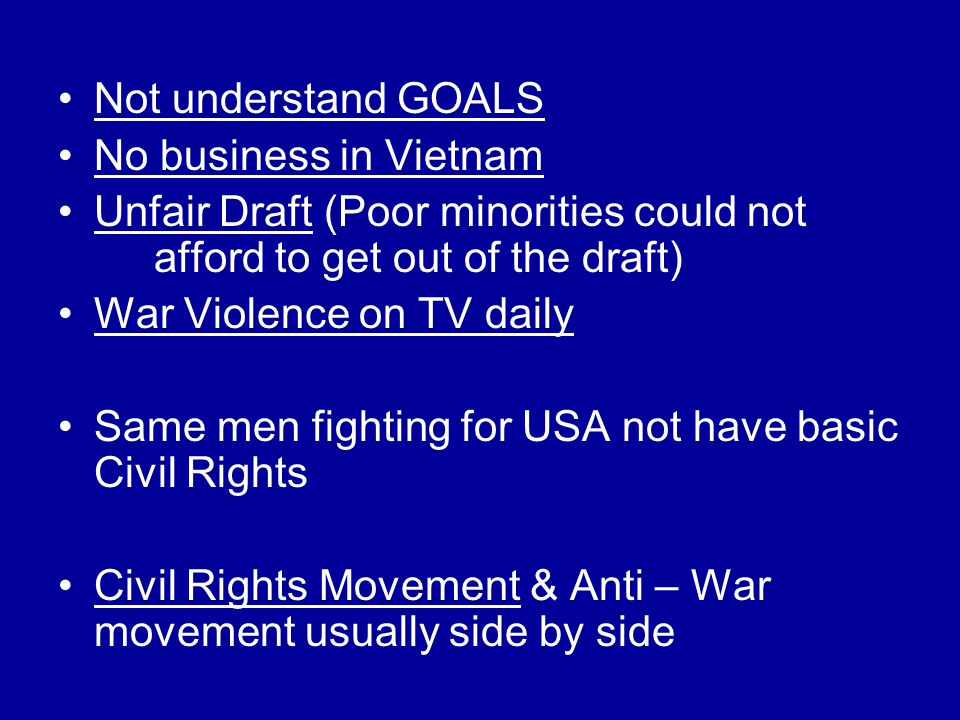 Not understand GOALS No business in Vietnam Unfair Draft (Poor minorities could not afford to get out of the draft) War Violence on TV daily Same men fighting for USA not have basic Civil Rights Civil Rights Movement & Anti – War movement usually side by side