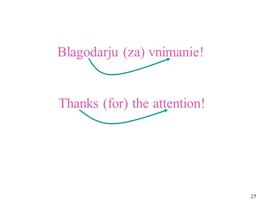 25 Blagodarju (za) vnimanie! Thanks (for) the attention!