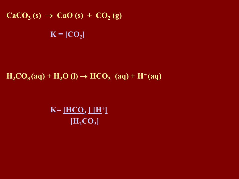 1. Pure Solids Since concentration is constant for a solid, a solid reactant or product is left out of the equilibrium equation 2. Pure liquids and So