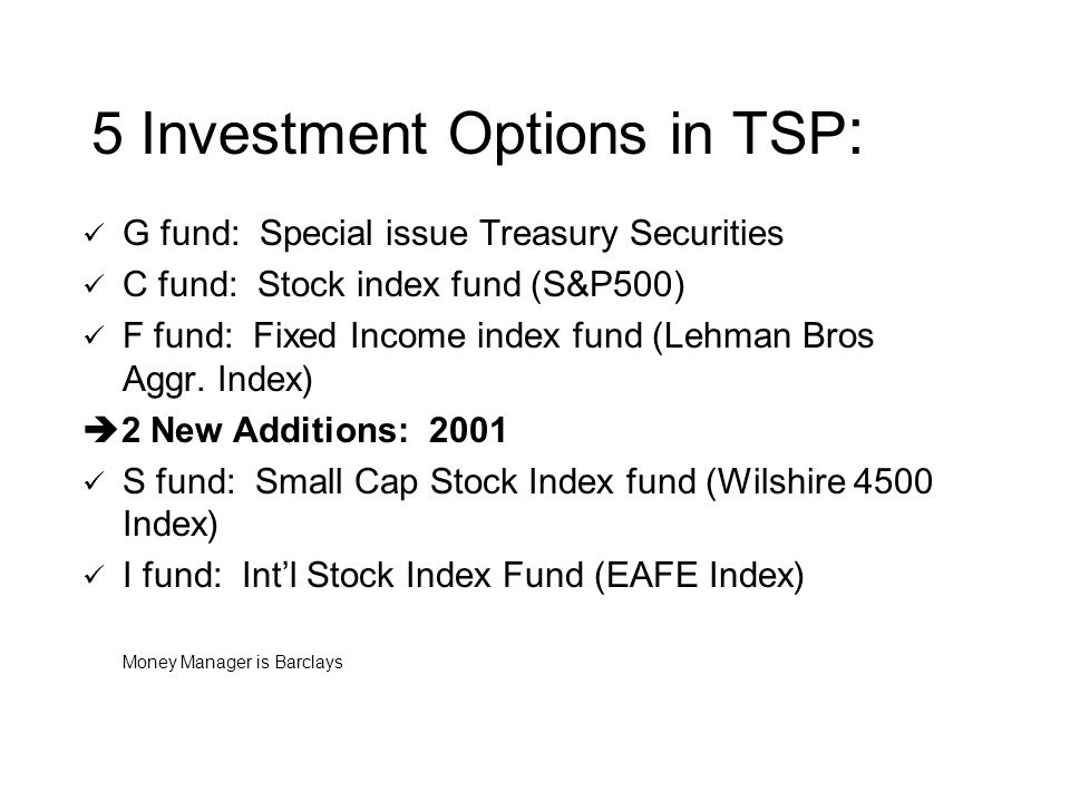 5 Investment Options in TSP : G fund: Special issue Treasury Securities C fund: Stock index fund (S&P500) F fund: Fixed Income index fund (Lehman Bros Aggr.