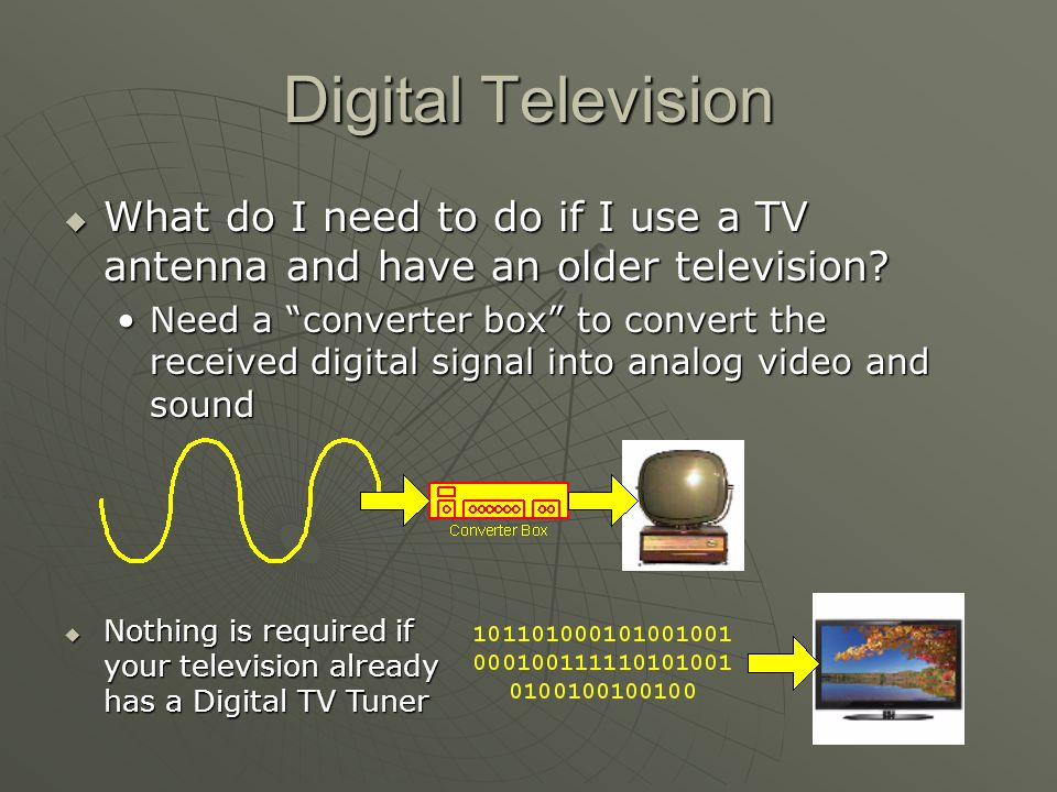 Digital Television What do I need to do if I use a TV antenna and have an older television.