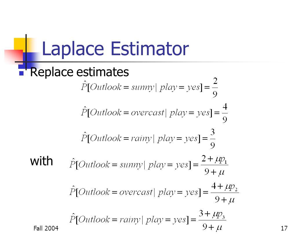Fall 200417 Laplace Estimator Replace estimates with