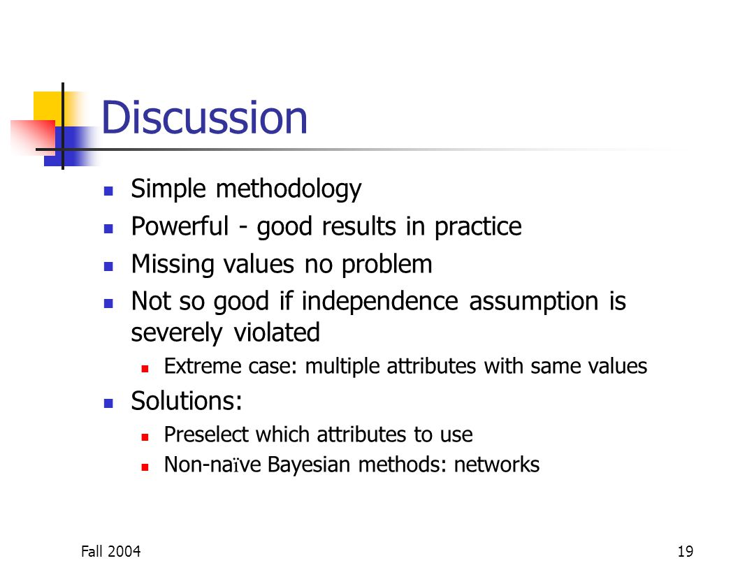 Fall 200419 Discussion Simple methodology Powerful - good results in practice Missing values no problem Not so good if independence assumption is seve
