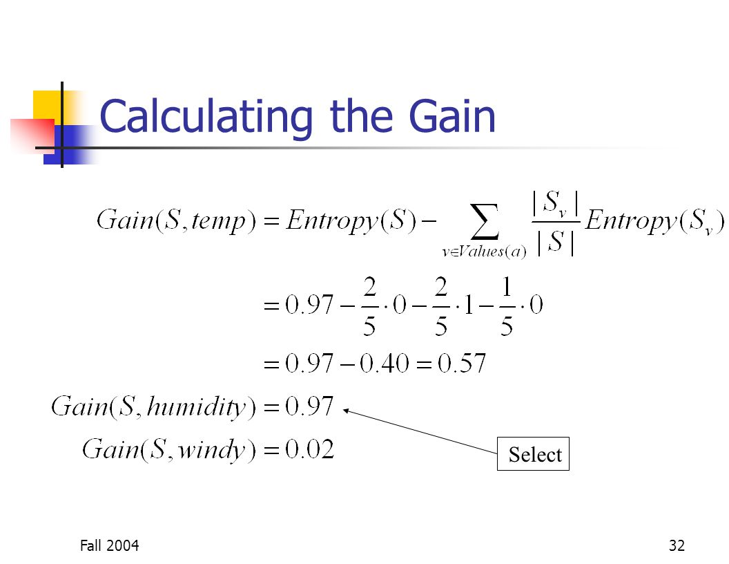 Fall 200432 Calculating the Gain Select