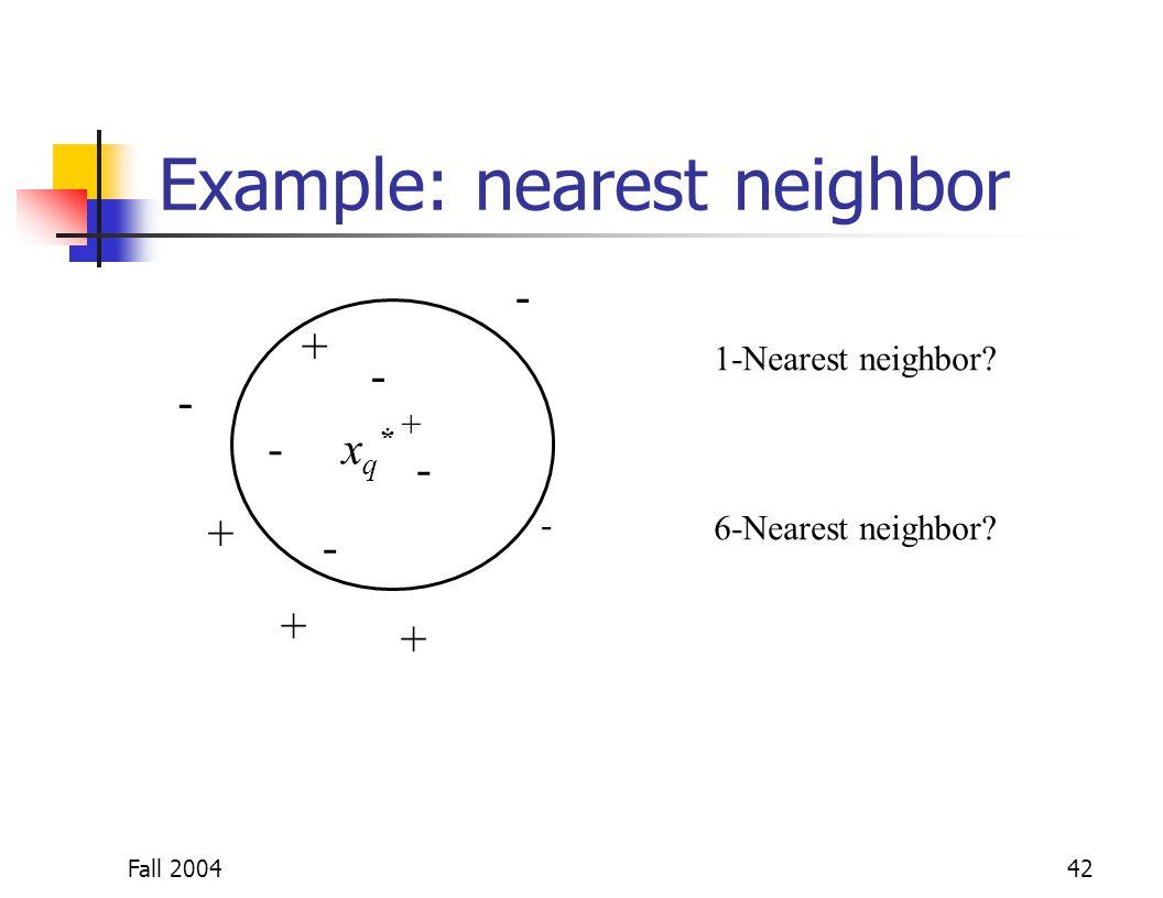 Fall 200442 Example: nearest neighbor + + + + + - - - - - -xq*xq* 1-Nearest neighbor? 6-Nearest neighbor? -