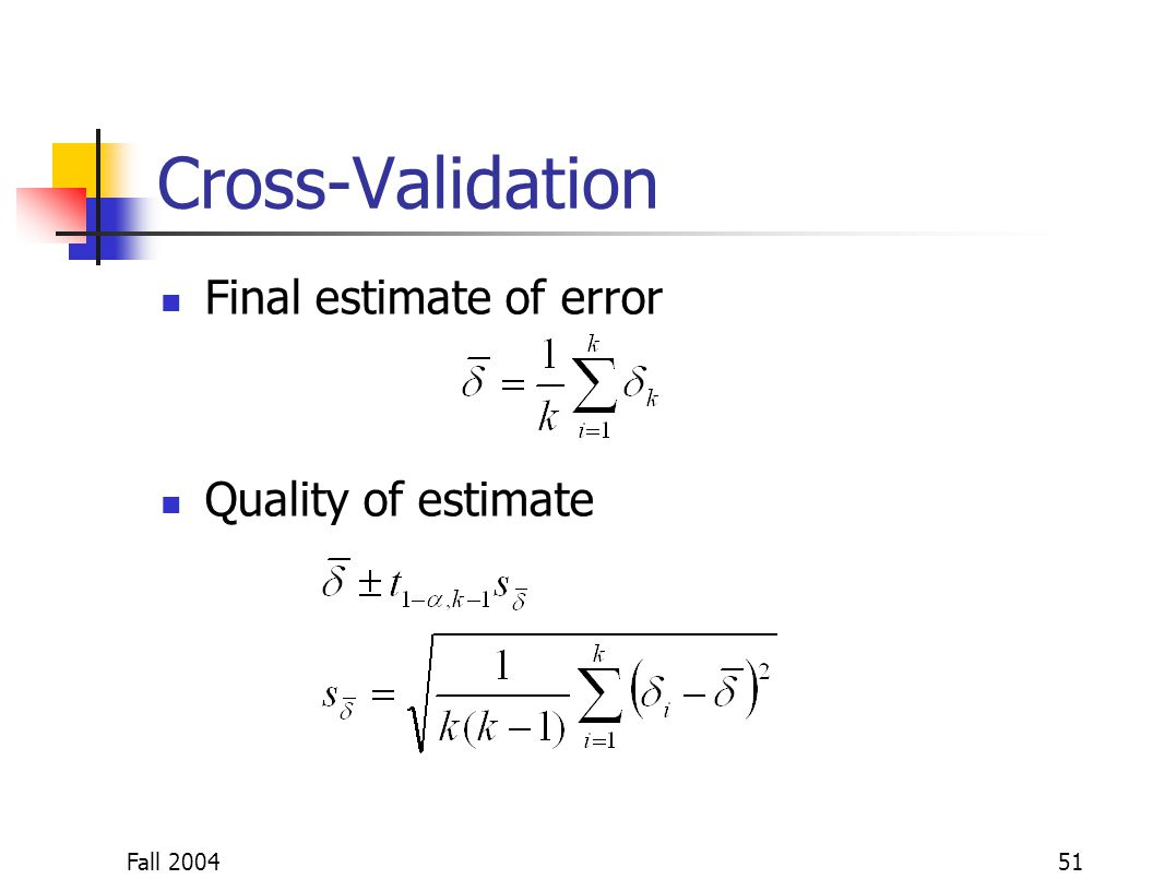 Fall 200451 Cross-Validation Final estimate of error Quality of estimate
