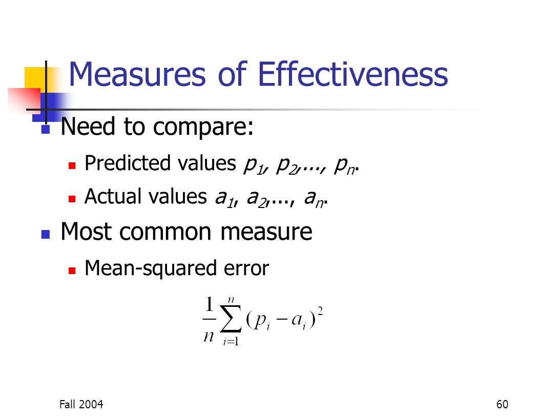 Fall 200460 Measures of Effectiveness Need to compare: Predicted values p 1, p 2,..., p n. Actual values a 1, a 2,..., a n. Most common measure Mean-s
