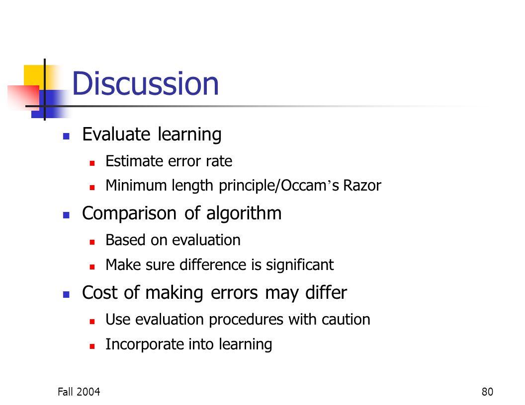 Fall 200480 Discussion Evaluate learning Estimate error rate Minimum length principle/Occam s Razor Comparison of algorithm Based on evaluation Make s