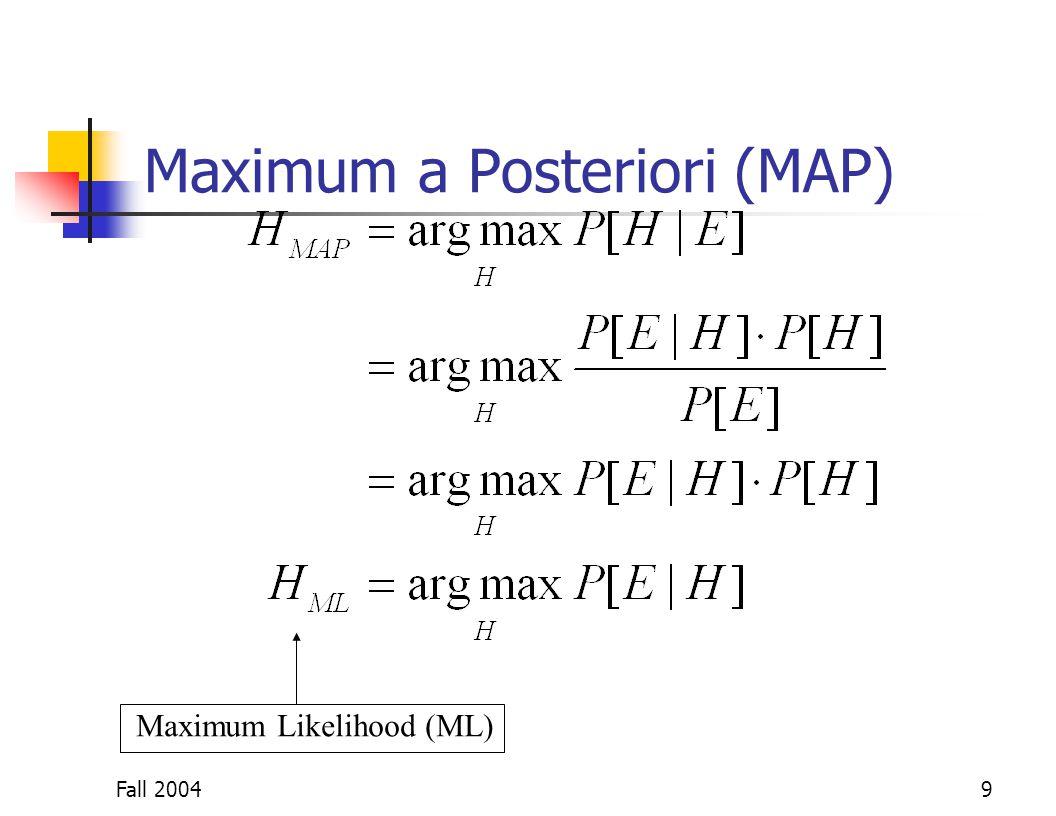 Fall 20049 Maximum a Posteriori (MAP) Maximum Likelihood (ML)