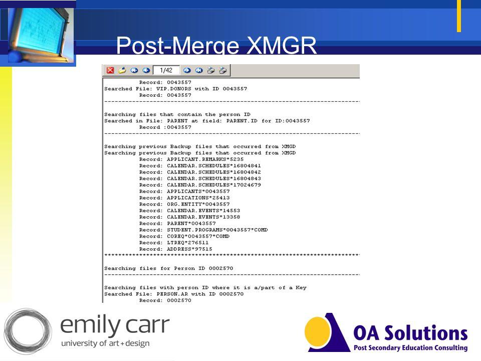 Post-Merge XMGR