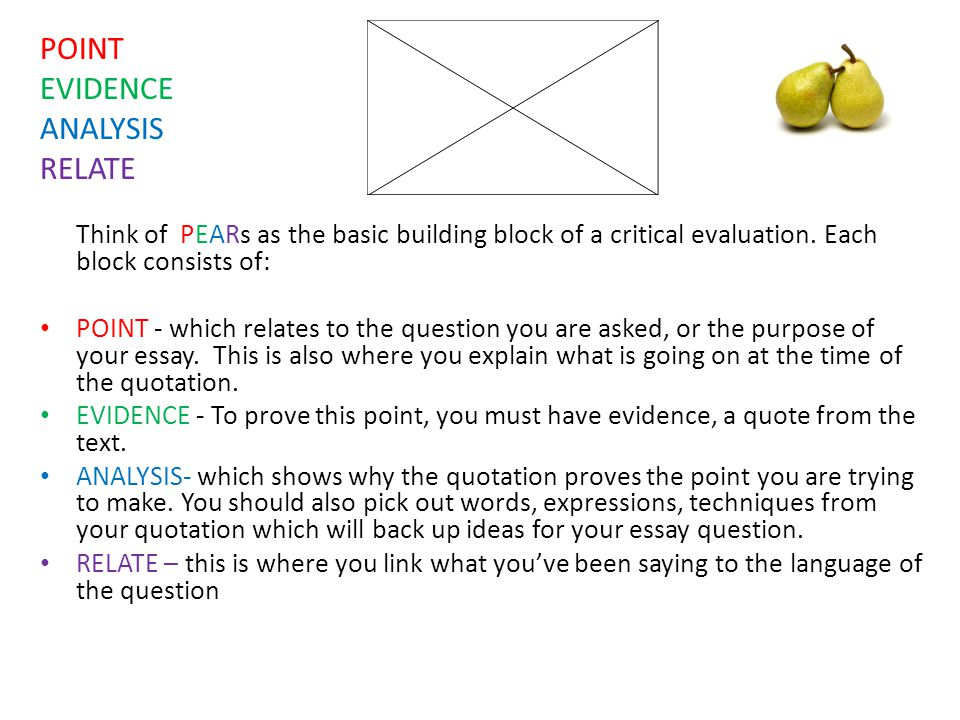 POINT EVIDENCE ANALYSIS RELATE Think of PEARs as the basic building block of a critical evaluation. Each block consists of: POINT - which relates to t