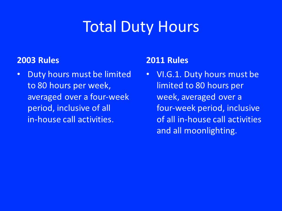 Total Duty Hours 2003 Rules Duty hours must be limited to 80 hours per week, averaged over a fourweek period, inclusive of all inhouse call activities.