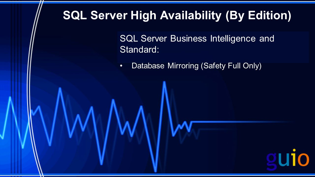 SQL Server High Availability (By Edition) SQL Server Business Intelligence and Standard: Database Mirroring (Safety Full Only)