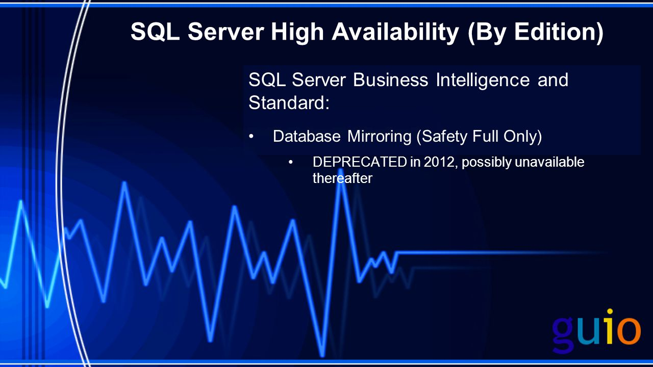 SQL Server High Availability (By Edition) SQL Server Business Intelligence and Standard: Database Mirroring (Safety Full Only) DEPRECATED in 2012, possibly unavailable thereafter