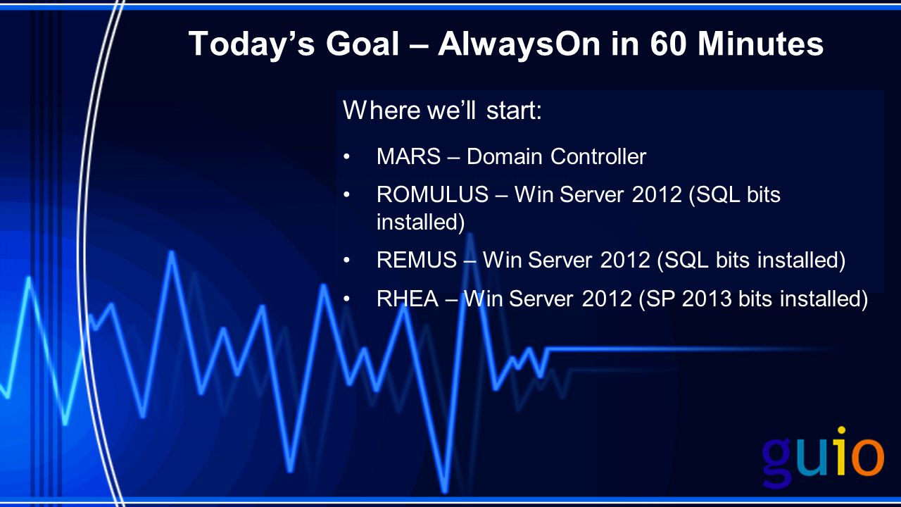 Todays Goal – AlwaysOn in 60 Minutes Where well start: MARS – Domain Controller ROMULUS – Win Server 2012 (SQL bits installed) REMUS – Win Server 2012 (SQL bits installed) RHEA – Win Server 2012 (SP 2013 bits installed)