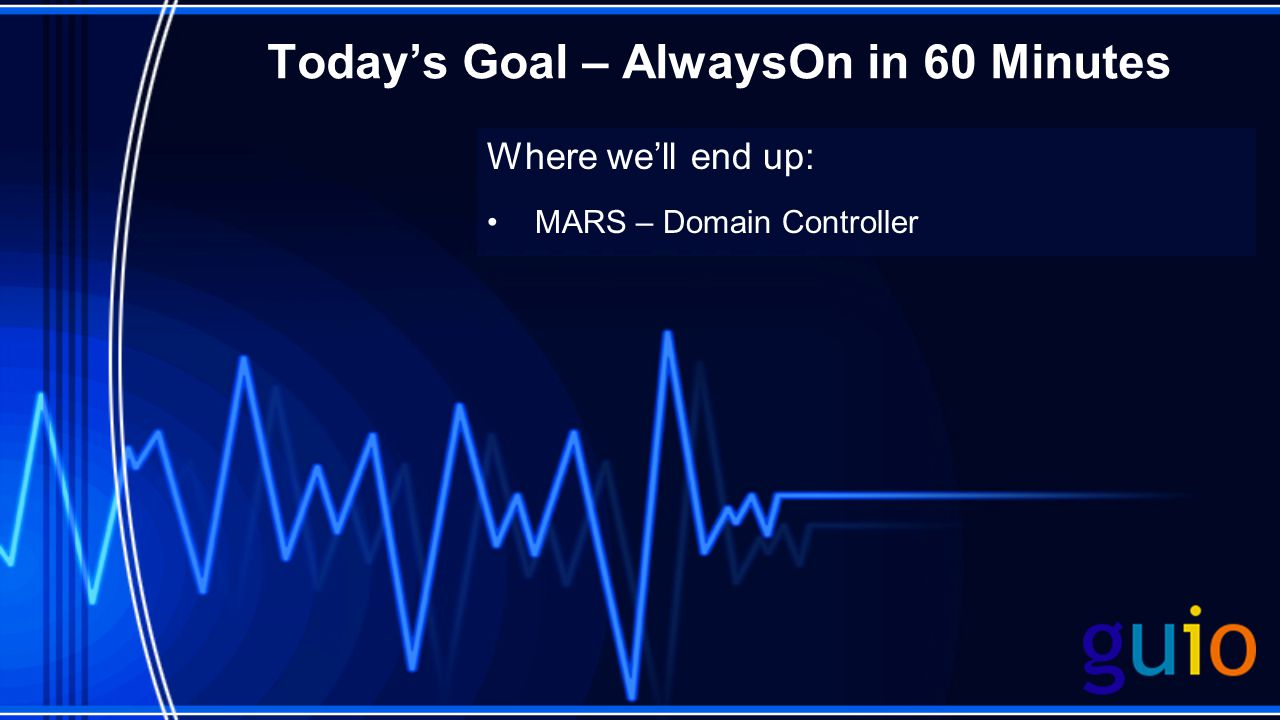 Todays Goal – AlwaysOn in 60 Minutes Where well end up: MARS – Domain Controller