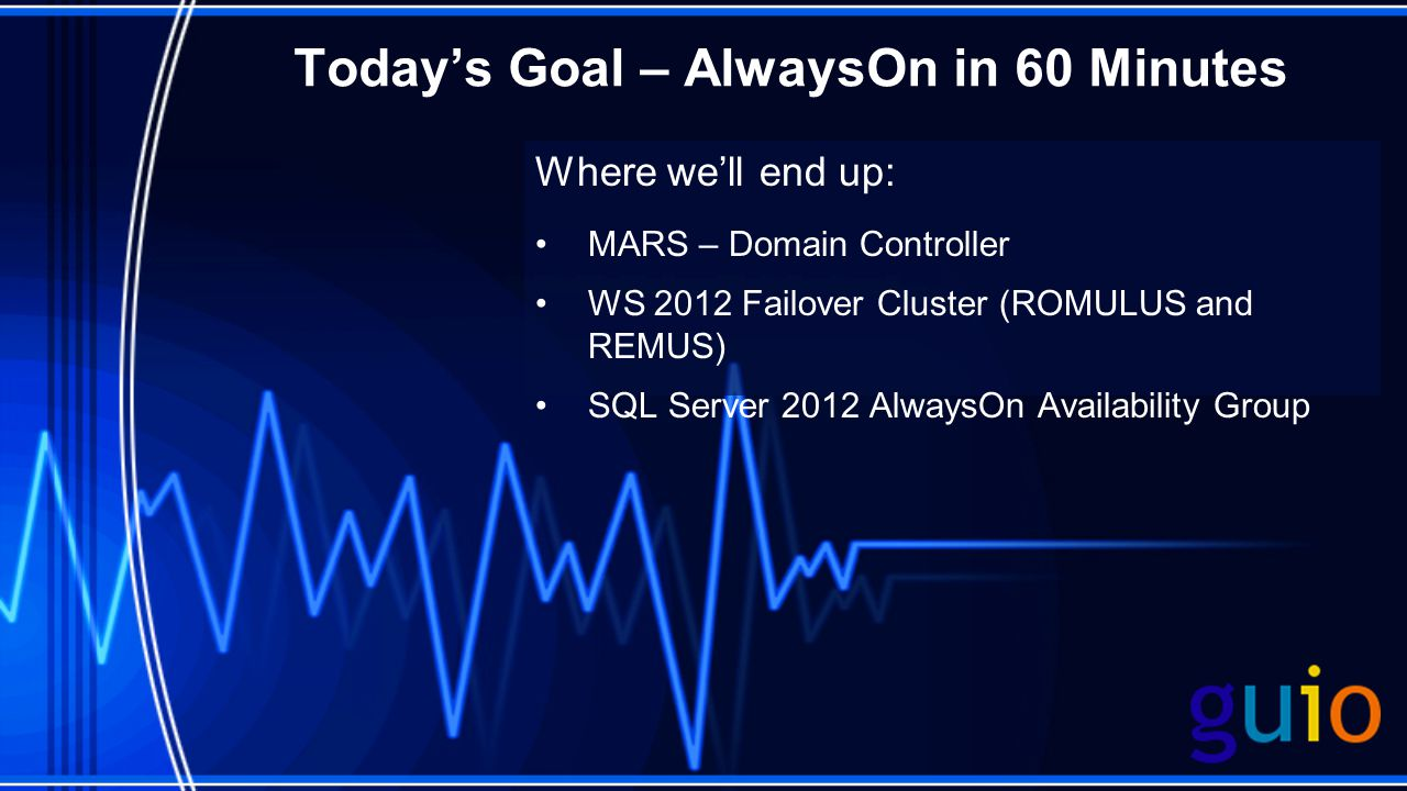 Todays Goal – AlwaysOn in 60 Minutes Where well end up: MARS – Domain Controller WS 2012 Failover Cluster (ROMULUS and REMUS) SQL Server 2012 AlwaysOn Availability Group