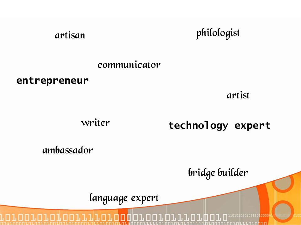 artisan communicator writer artist bridge builder ambassador philologist language expert technology expert entrepreneur