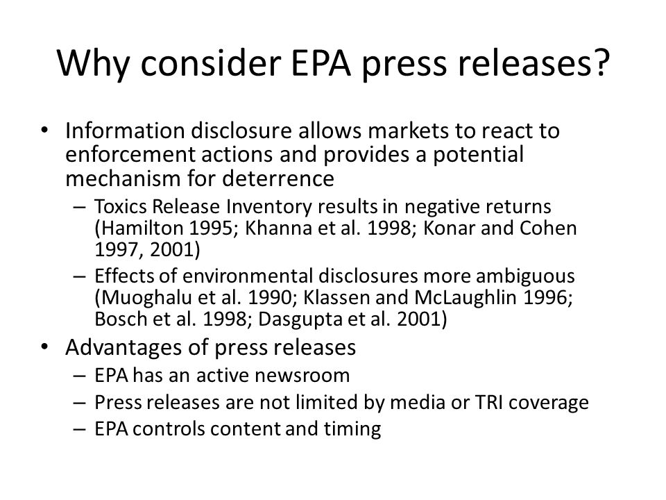 EPAs choice of words EPA chooses the tone of the press release: – The company cooperated with EPAs inspection, and promptly filed the reports after being notified of the alleged violations.