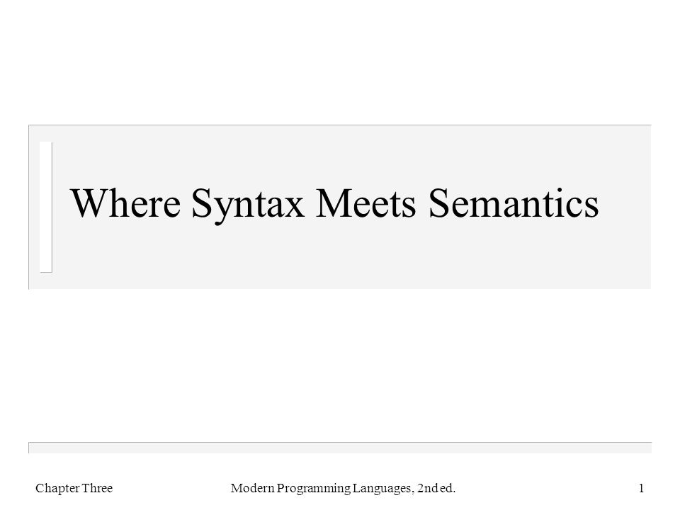 Where Syntax Meets Semantics Chapter ThreeModern Programming Languages, 2nd ed.1