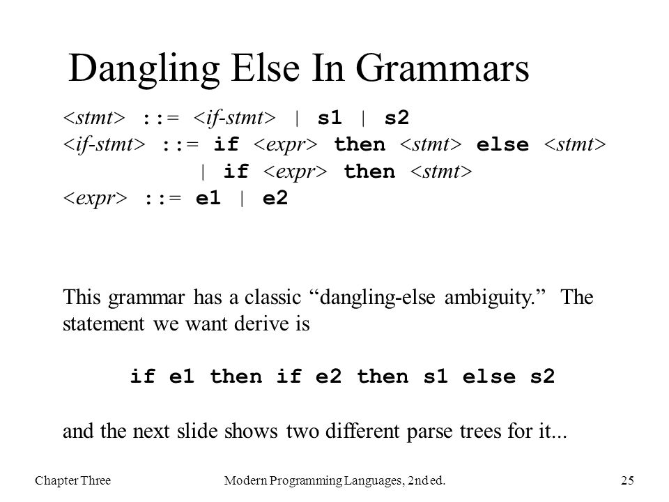Dangling Else In Grammars Chapter ThreeModern Programming Languages, 2nd ed.25 ::= | s1 | s2 ::= if then else | if then ::= e1 | e2 This grammar has a